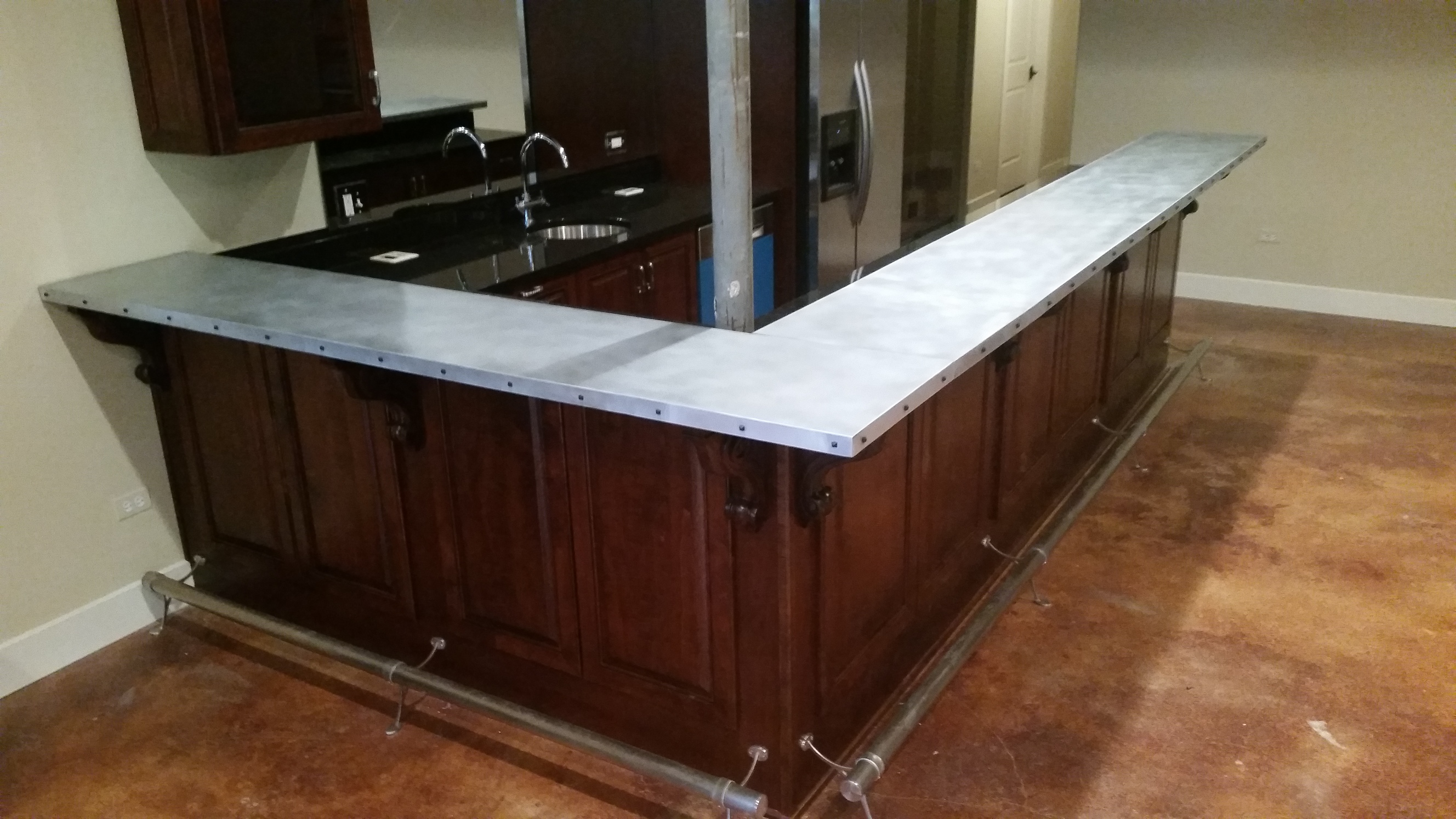 Finest Zinc Countertops U Custom Metal Home With Bar Top Material.