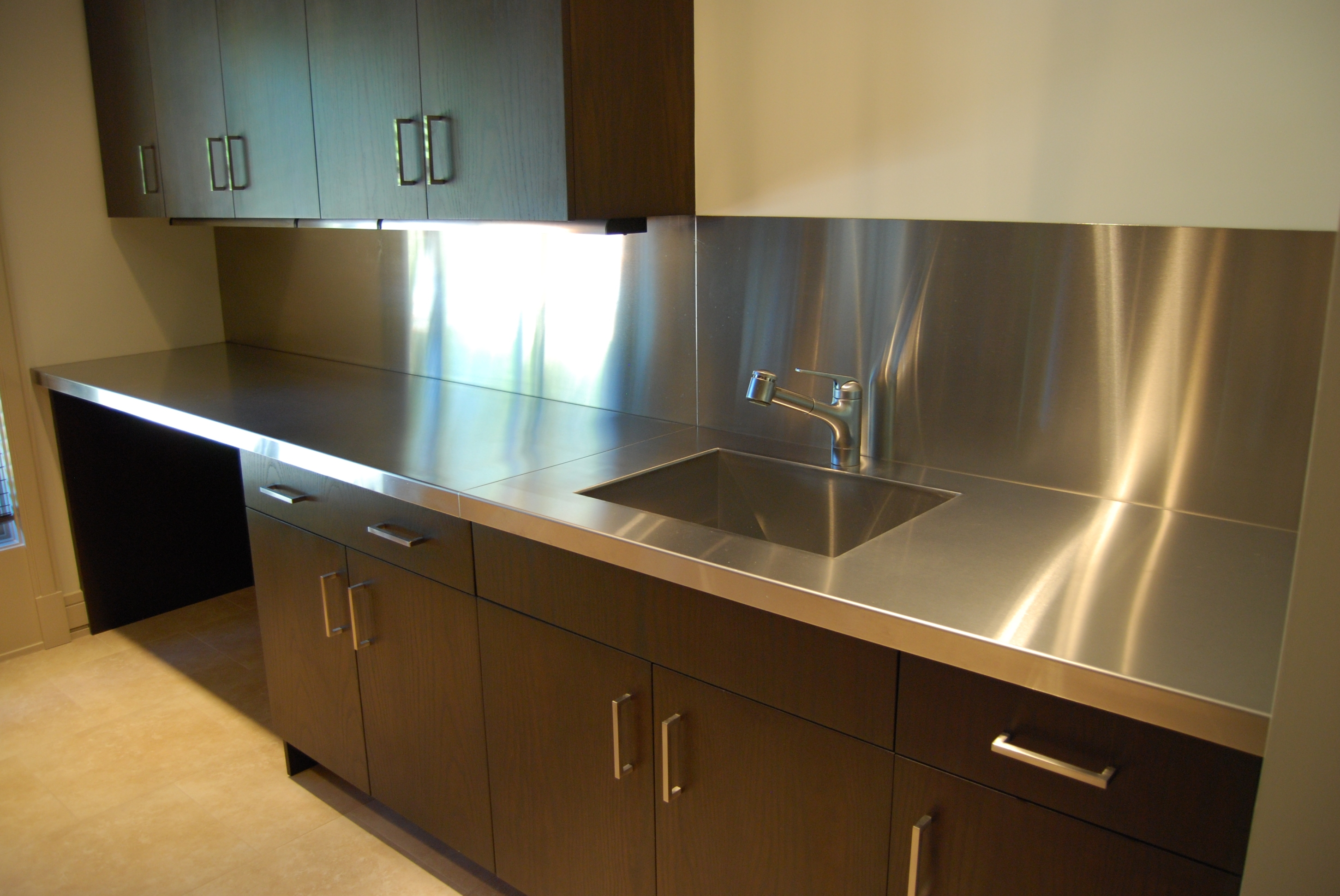 Stainless steel countertops custom metal home for Stainless steel countertop with integral sink