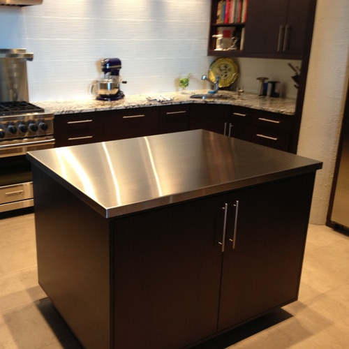 Brushed stainless steel countertop with integral sink for Stainless steel countertop with integral sink