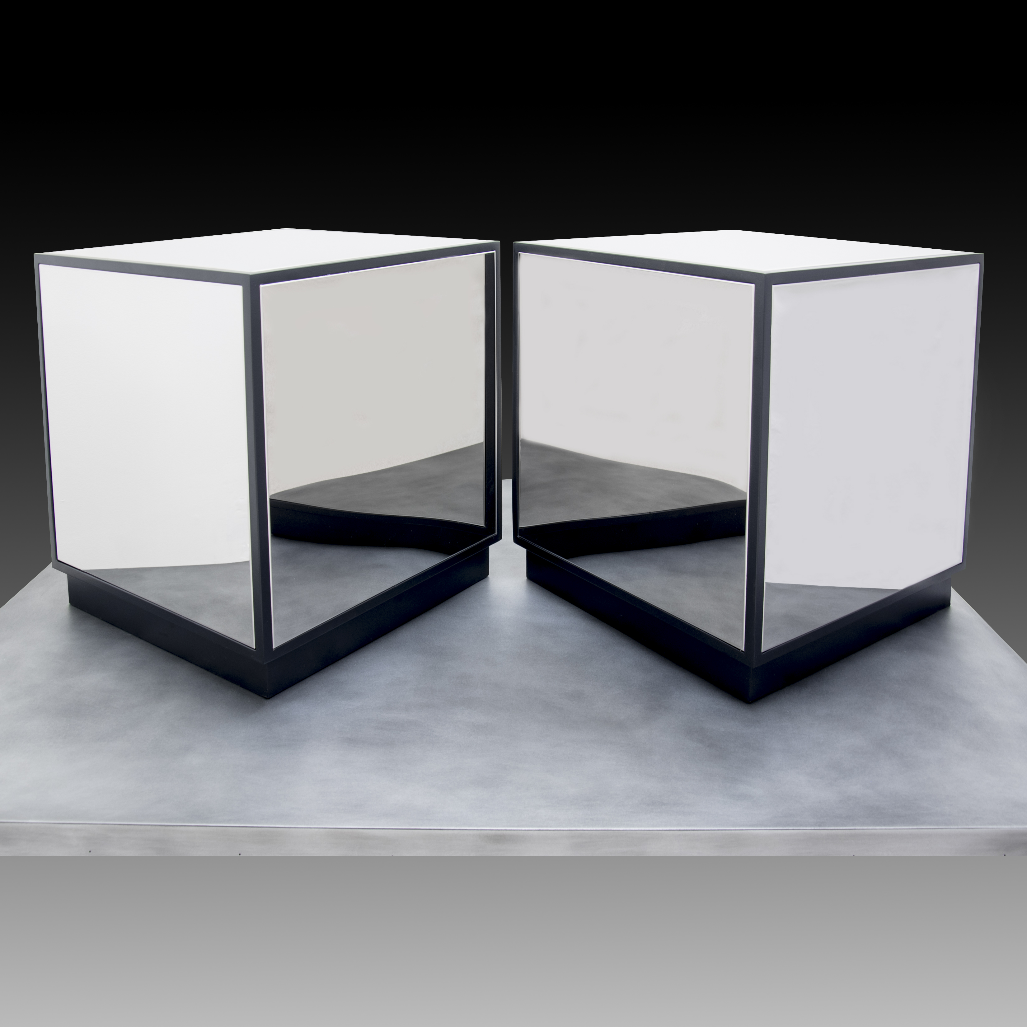 mirrored ss cube coffee end table custom metal home