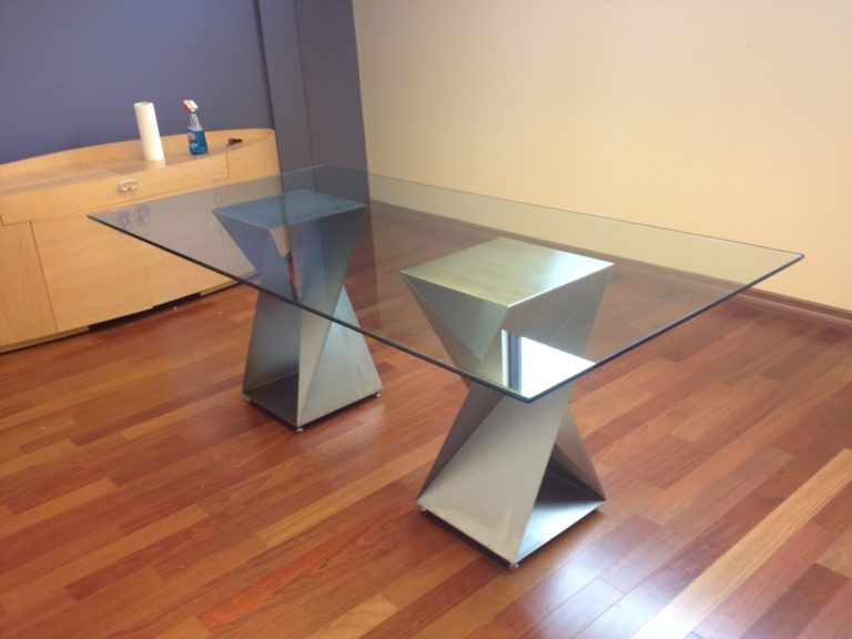 steel twist bases with rectangle glass top