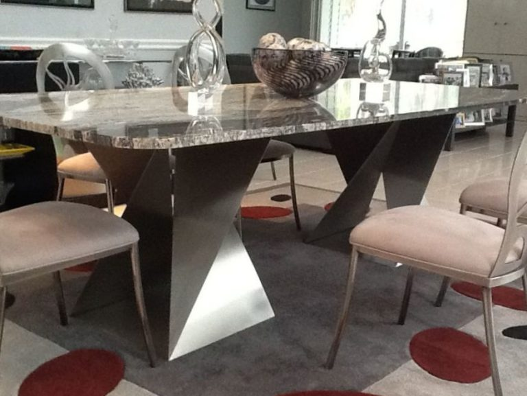 close up of dark metal twist base table