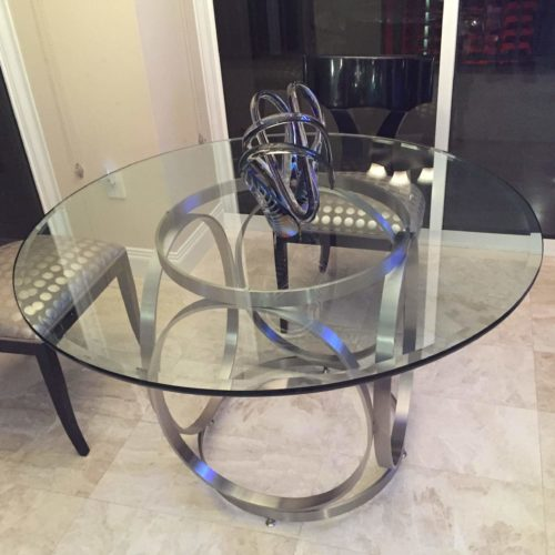 pluto style table base with glass table top