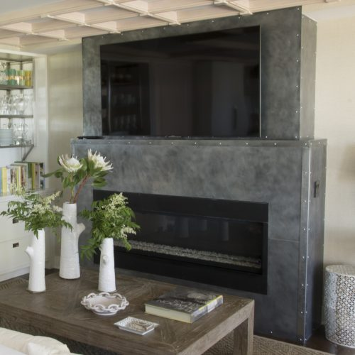 installed custom steel fire place