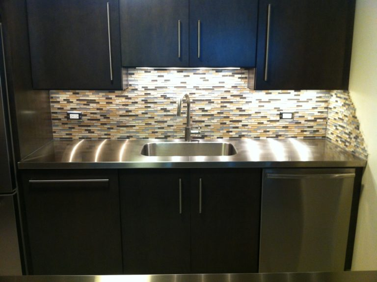 stainless steel countertop on dimmed light view