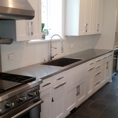 side portrait of stainless steel countertops