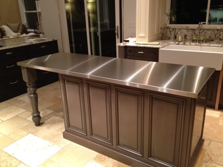 stainless steel island top in the kitchen