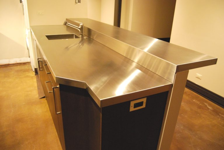 stainless steel countertop sideview