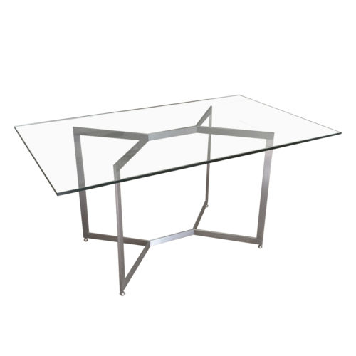 custom virgo table base with rectangle glass top on white background