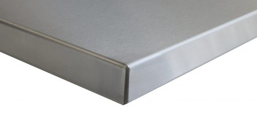 stainless steel table top edge close up