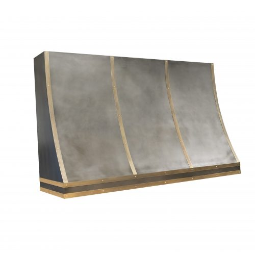 zinc rangehood with brass banding