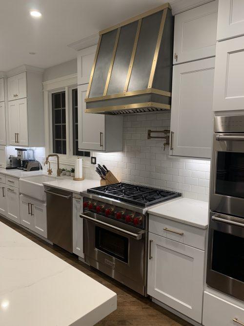 zinc and brass kitchen side view