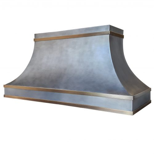 zinc rangehood with brass band