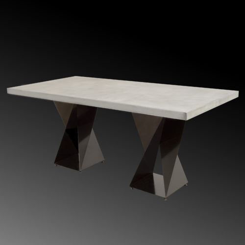 zinc twist base rectangle table on black background