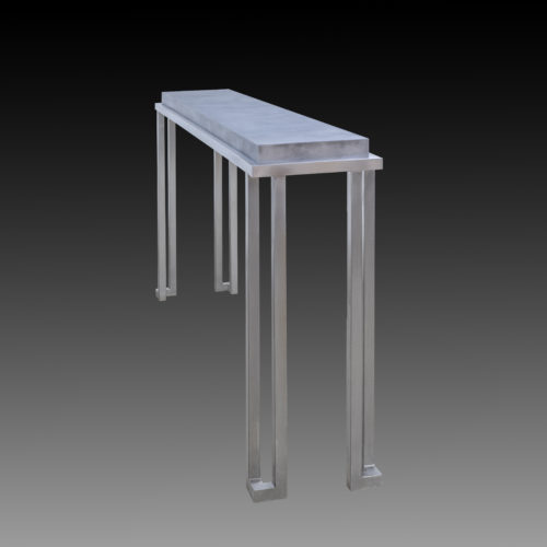 sideview of stainless steel coffee table