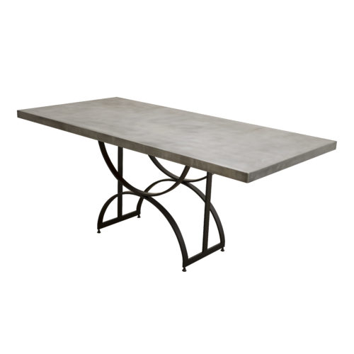 custom darkened steel base table
