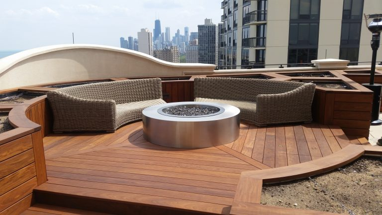 round stainless steel fire pit lanscape