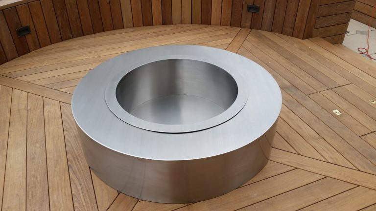 round stainless steel fire pit