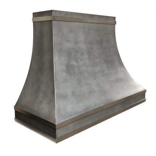zinc rangehood with stainless steel banding